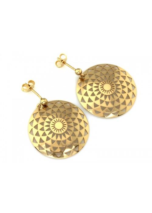 Kolczyki złote pr. 585 - ażurowe okrągłe blaszki (duże)
