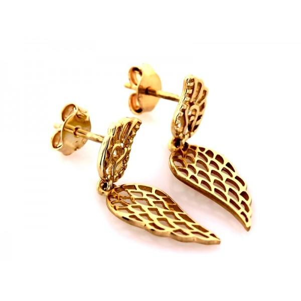 Kolczyki złote pr. 585 - ażurowe skrzydła na sztyfcie