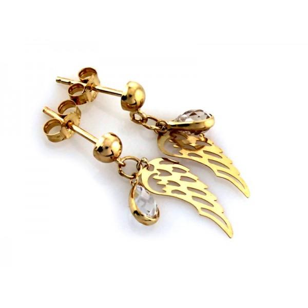 Kolczyki złote pr. 585 - ażurowe skrzydła z wiszącą cyrkonią