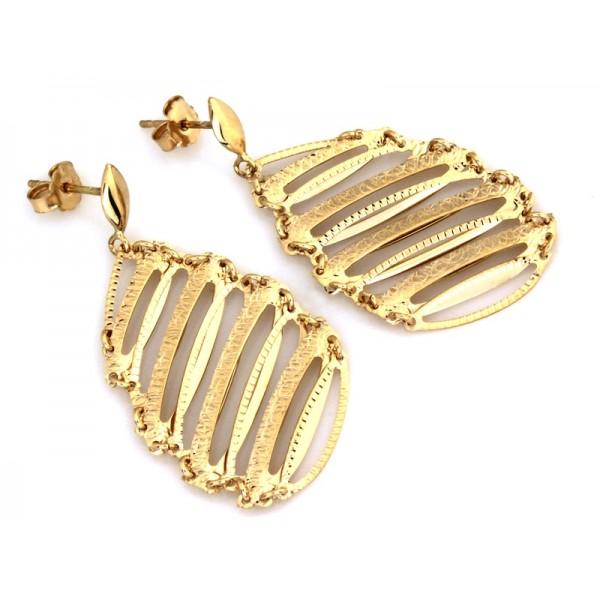 Kolczyki złote pr. 585 -  ażurowe zdobione blaszki