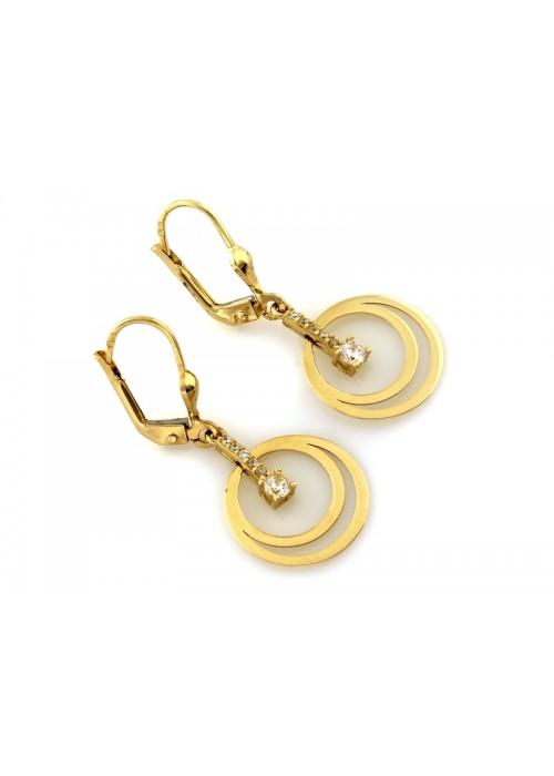 Kolczyki złote pr. 585 bicolor - wiszące koła z cyrkoniami