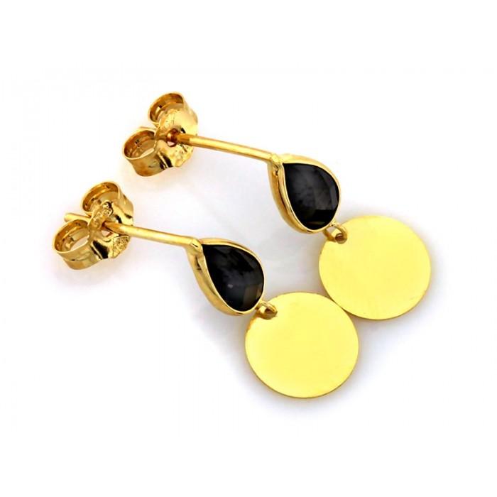Kolczyki złote pr. 585 - czarna łezka z okrągłą blaszką