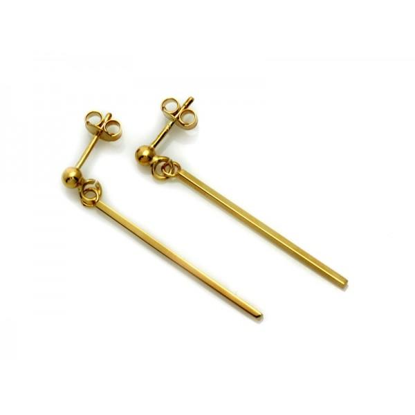 Kolczyki złote pr. 585 - długie wiszące patyczki