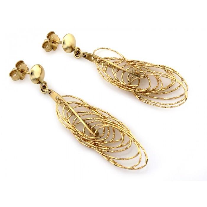 Kolczyki złote pr. 585 - długie z przeplatanych obręczy