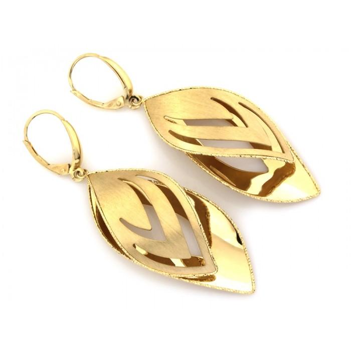Kolczyki złote pr. 585 duże wiszące ażurowe
