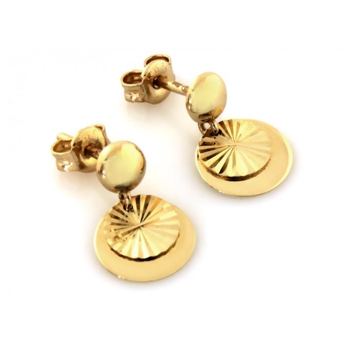 Kolczyki złote pr. 585 - dwie okrągłe blaszki