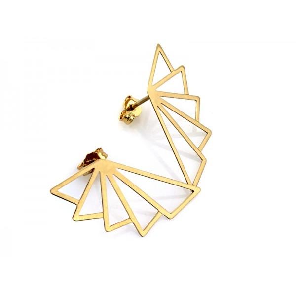 Kolczyki złote pr. 585 - geometryczne wachlarze