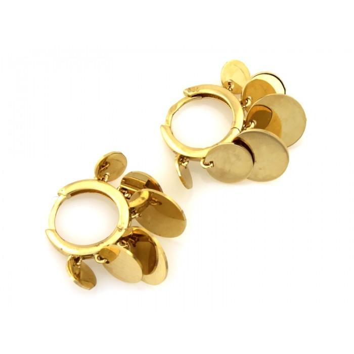 Kolczyki złote pr. 585 - koła z wiszącymi kółkami