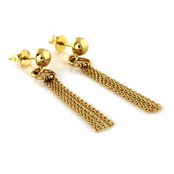 Kolczyki złote pr. 585 - kółeczko z wiszącymi łańcuszkami