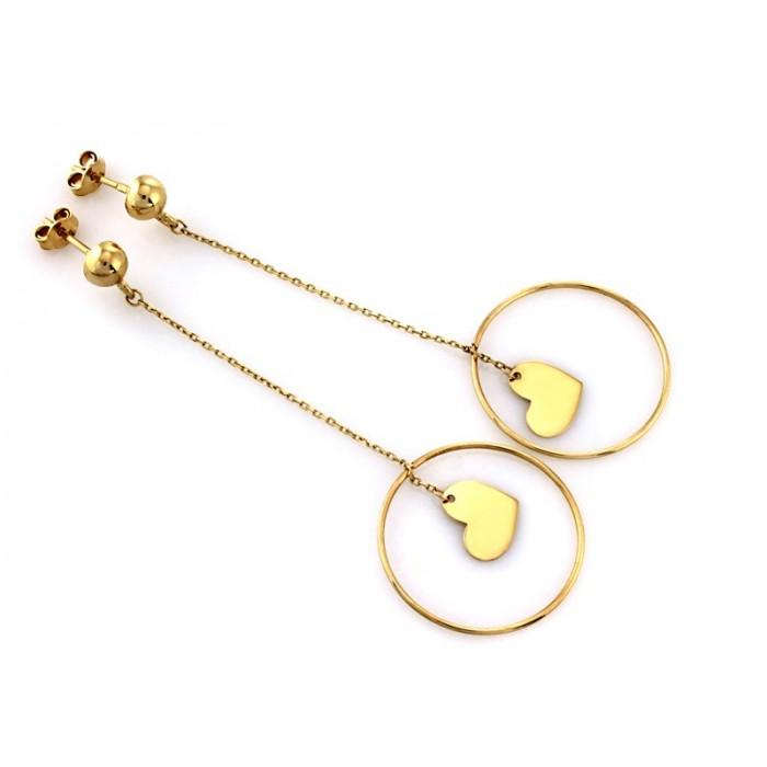 Kolczyki złote pr. 585 - kółko z sercem na łańcuszku