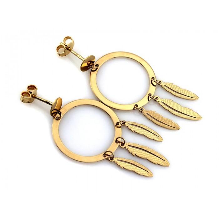 Kolczyki złote pr. 585 - łapacz snów z piórkami