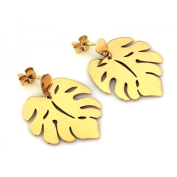 Kolczyki złote pr. 585 - liście monastery na sztyfcie