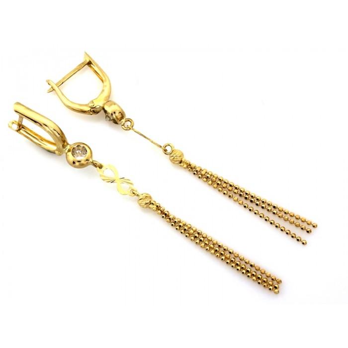 Kolczyki złote pr. 585 - nieskończoność z wiszącymi łańcuszkami