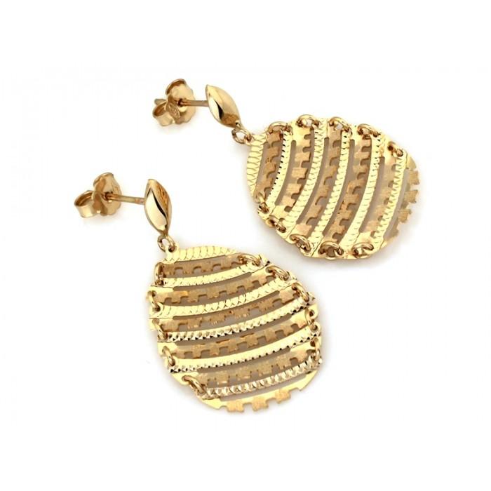 Kolczyki złote pr. 585 - okazałe ażurowe blaszki