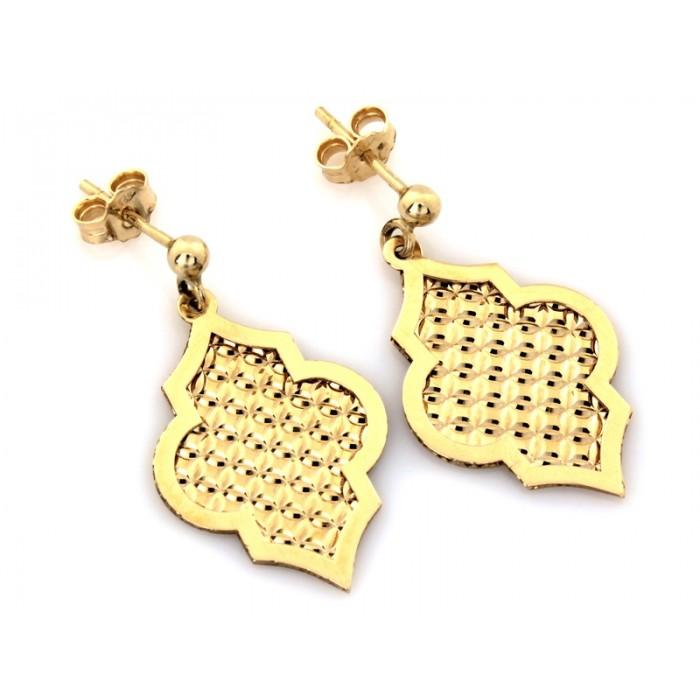 Kolczyki złote pr. 585 - okazałe frezowane blaszki