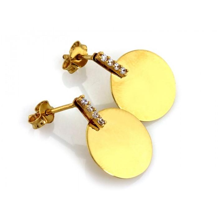 Kolczyki złote pr. 585 - okrągła blaszka z cyrkoniami