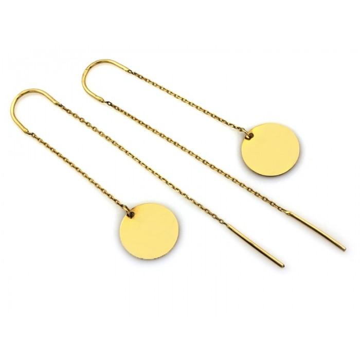 Kolczyki złote pr. 585 - przewlekane z okrągłą blaszką