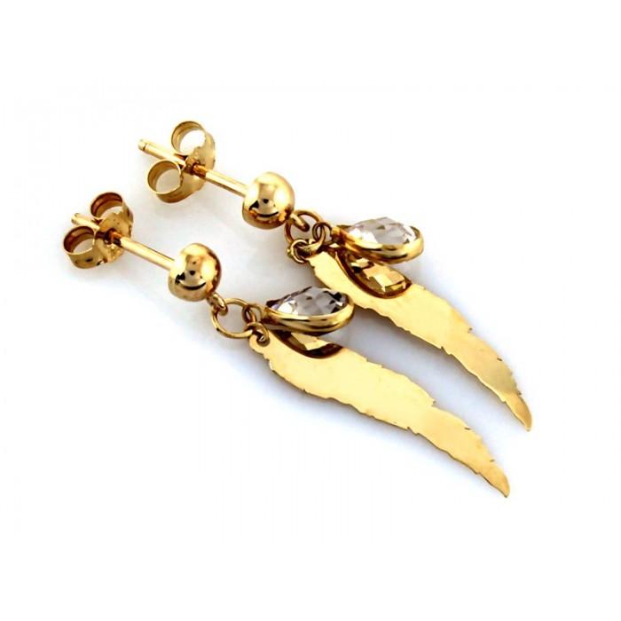 Kolczyki złote pr. 585 - skrzydła z wiszącą cyrkonią
