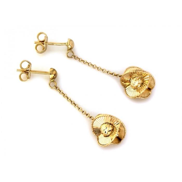 Kolczyki złote pr. 585 - wisząca kulka na łańcuszku