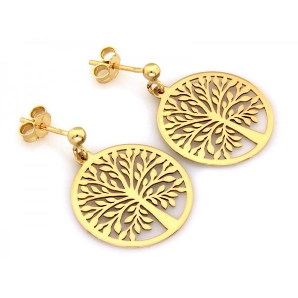 Kolczyki złote pr. 585 - wiszące ażurowe drzewo