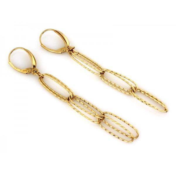 Kolczyki złote pr. 585 - wiszące ogniwa długie (łańcuch/chain)