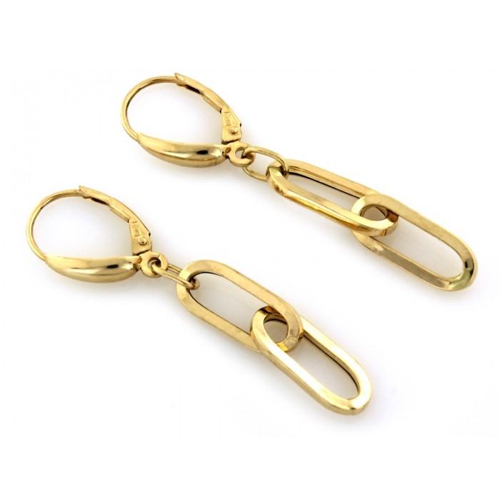 Kolczyki złote pr. 585 - wiszące ogniwa (łańcuch/chain)