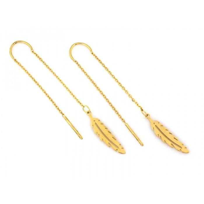Kolczyki złote pr. 585 - wiszące przewlekane pióra na łańcuszku