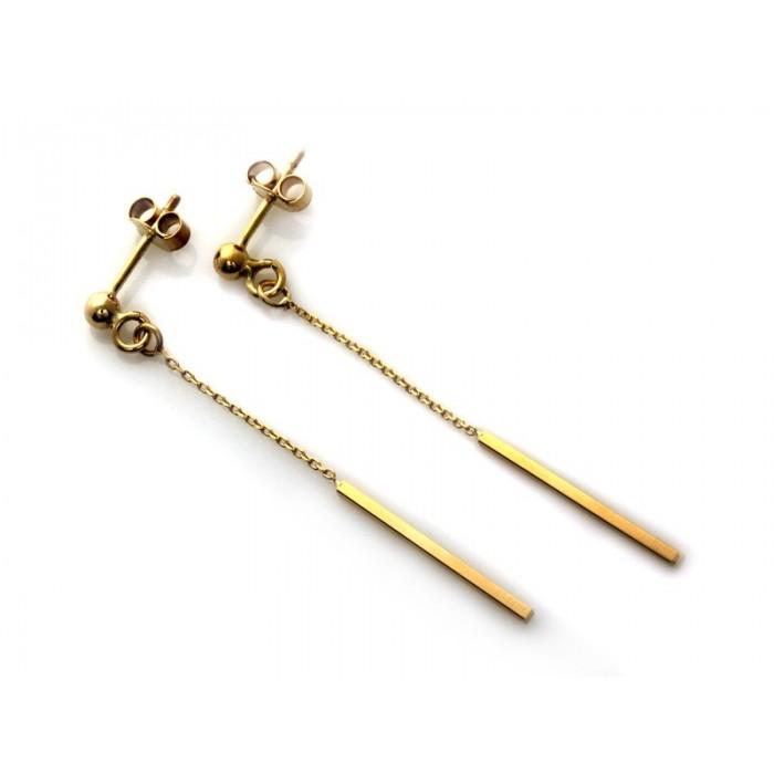 Kolczyki złote pr. 585 - wiszący patyczek na łańcuszku