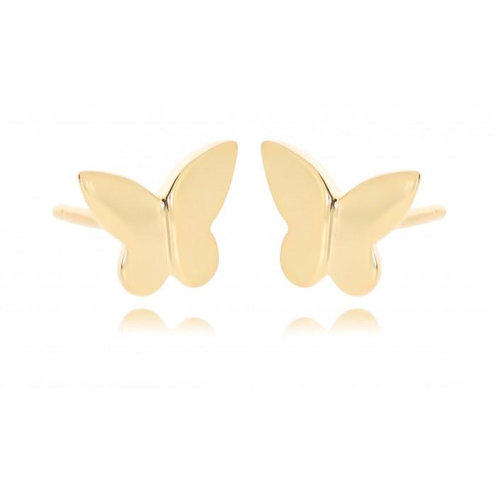 Kolczyki złote pr. 585 - gładkie motyle