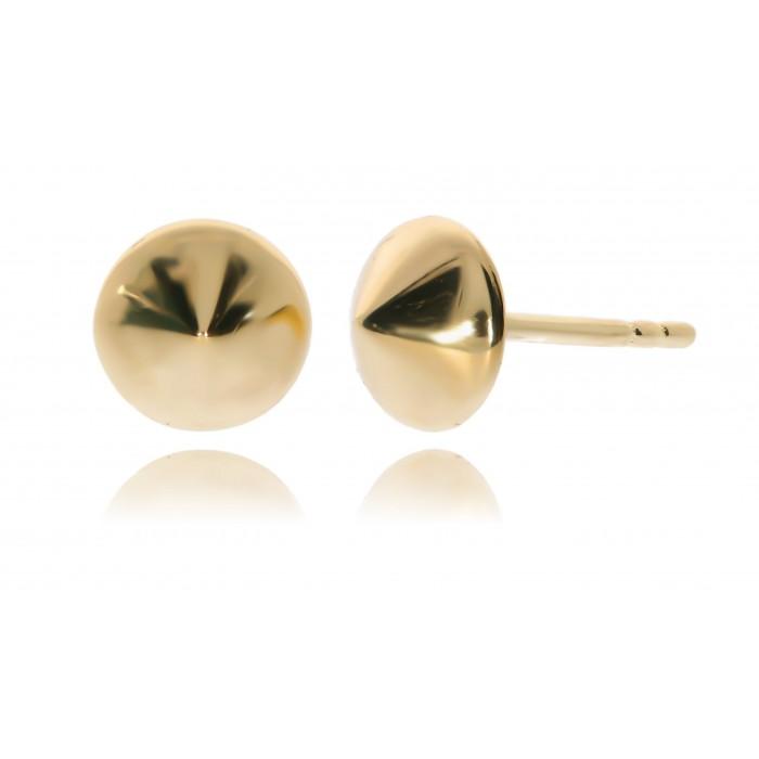 Kolczyki złote pr. 585 - gładkie pinezki stożkowe