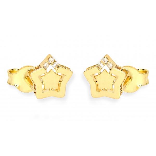 Kolczyki złote pr. 585 - gwiazdki cyrkonią