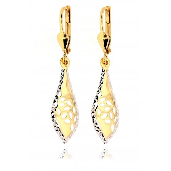 Kolczyki złote pr. 585 - łezki ażurowe - bicolor