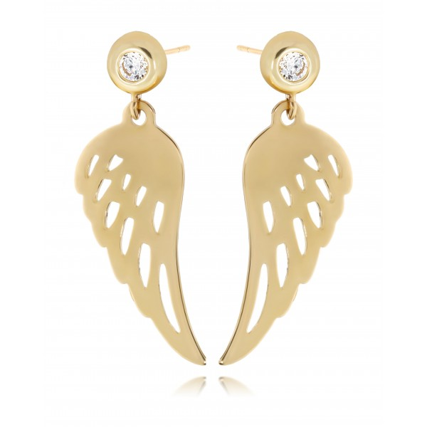 Kolczyki złote pr. 585 - skrzydła z cyrkonią