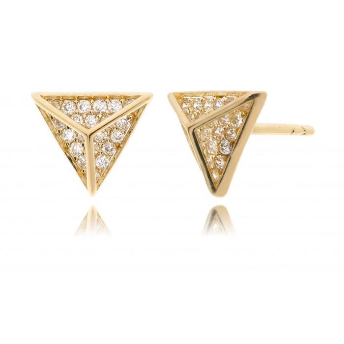 Kolczyki złote pr. 585 - trójkąty z cyrkoniami