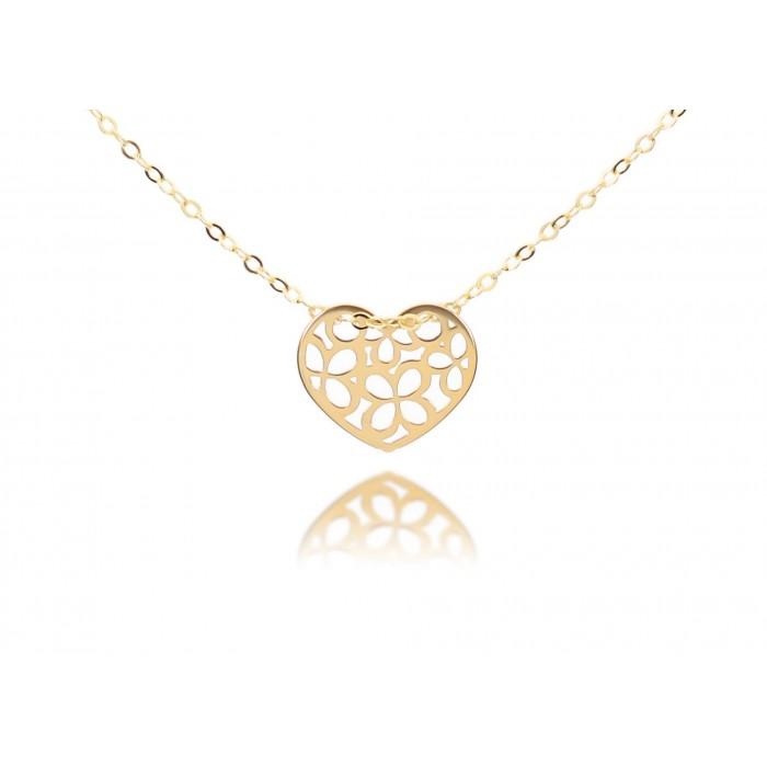 Naszyjnik złoty pr. 585 - celebrytka z ażurowym sercem