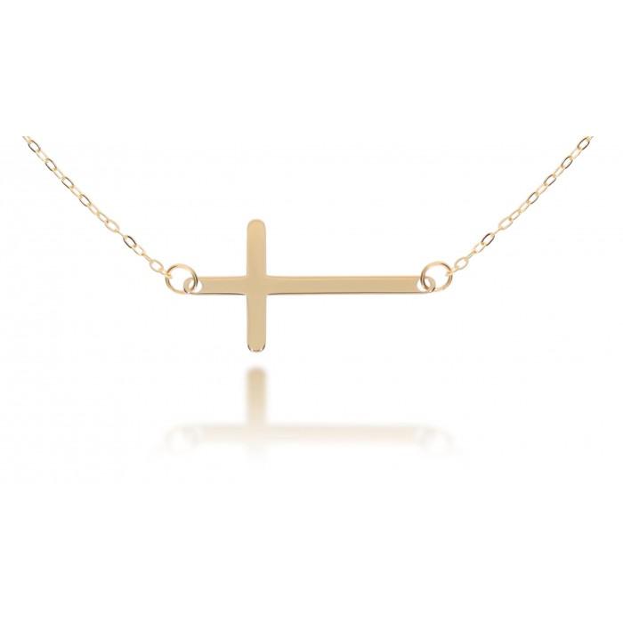Naszyjnik złoty pr. 585 - celebrytka poprzeczny krzyżyk