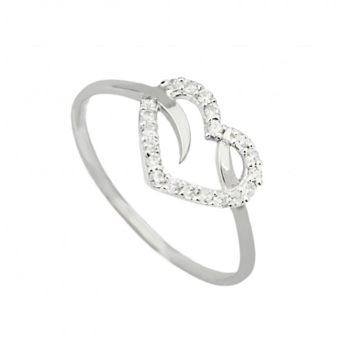 Pierścionek białe złoto - serce