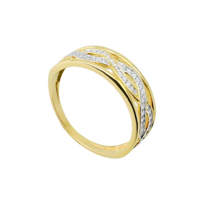 Pierścionek złoty - cyrkonia