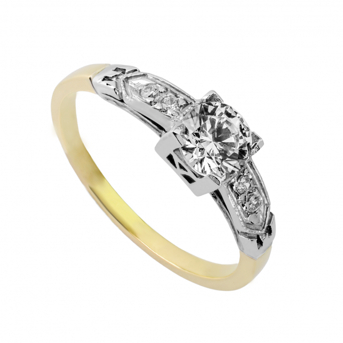 Pierścionek złoty - dwukolorowy z cyrkoniami