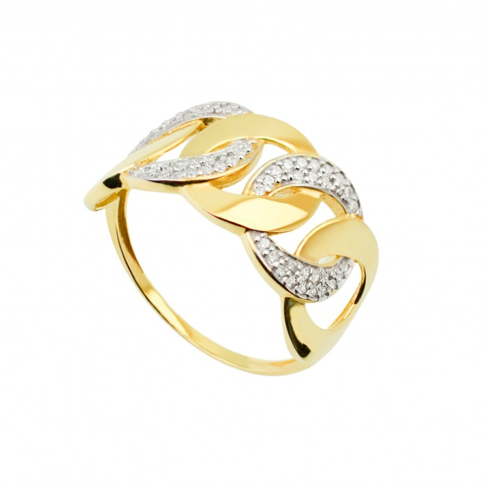 Pierścionek złoty - ogniwa z cyrkoniami