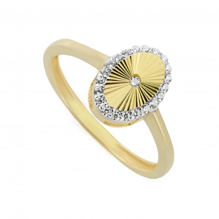 Pierścionek złoty - owal z cyrkoniami