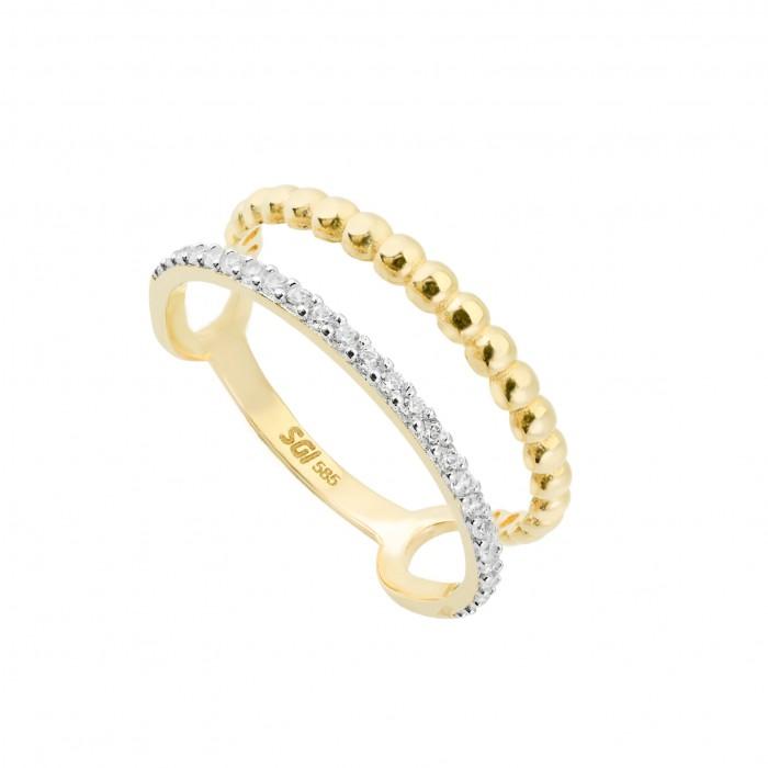 Pierścionek złoty podwójny - cyrkonie i kulki