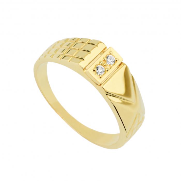 Pierścionek złoty - sygnet z cyrkoniami