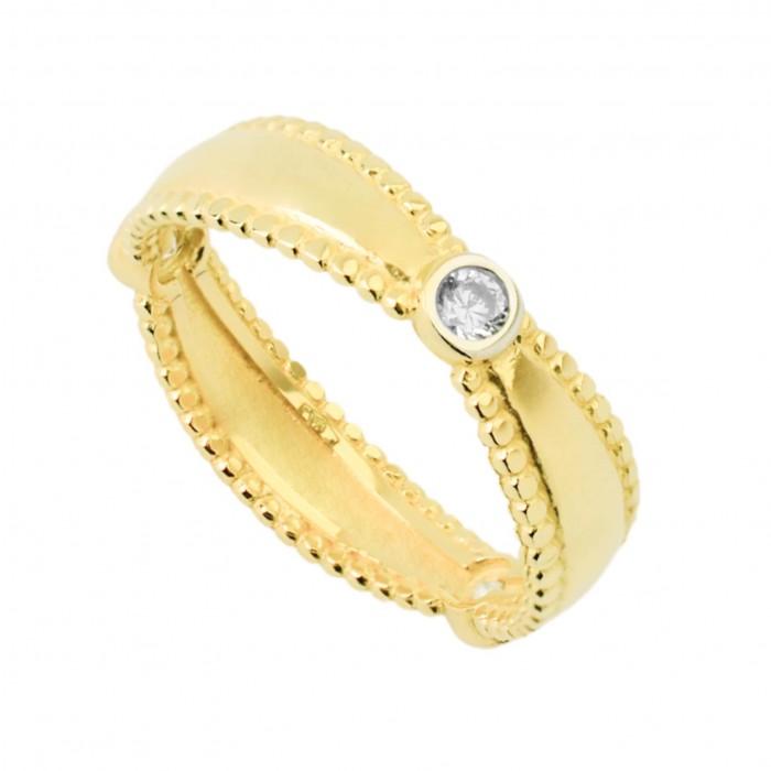 Pierścionek złoty z trzema cyrkoniami