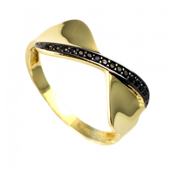 Pierścionek złoty - kokardka z cyrkoniami