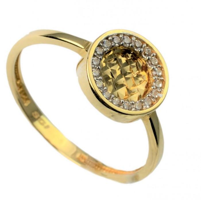 Pierścionek złoty - koło z cyrkoniami
