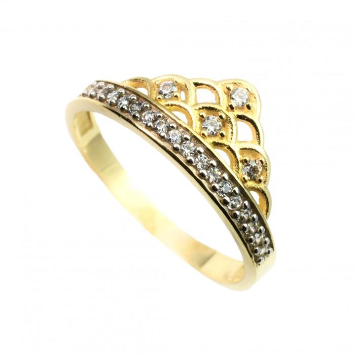 Pierścionek złoty - korona z cyrkoniami
