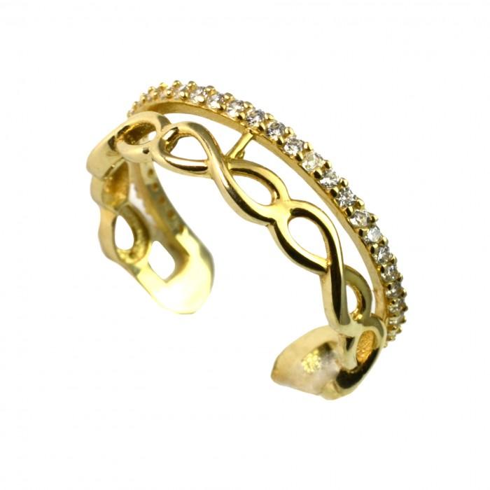 Pierścionek złoty - nieskończoność z cyrkoniami