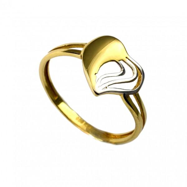 Pierścionek złoty - serce ażurowe (bicolor)