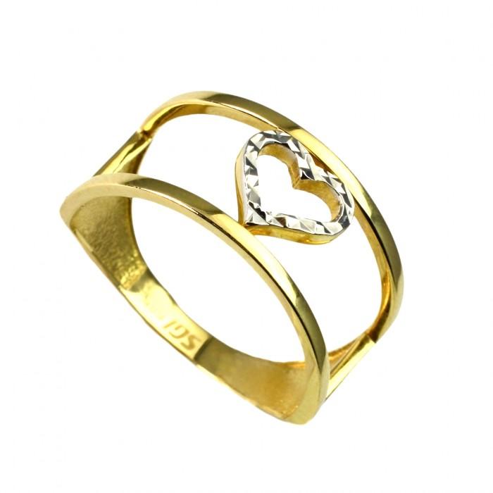 Pierścionek złoty - serce - bicolor